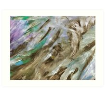 Blue and Green Silvery Streked Art Print