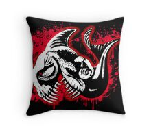 Feisty Fish Red and Black Throw Pillow