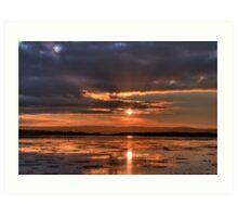 Fiery Sunset - Lovely Sun Set in Ireland, Deep Red and Orange Sky Art Print