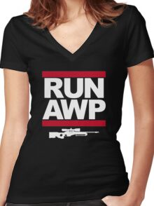RUN AWP Women's Fitted V-Neck T-Shirt