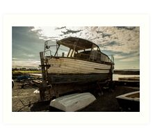 The Old Boat - Lovely photo of an old boat left on the dock Art Print