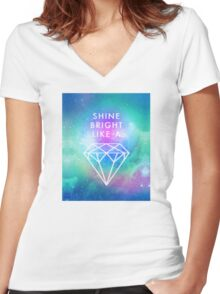 Shine bright like a <> Women's Fitted V-Neck T-Shirt