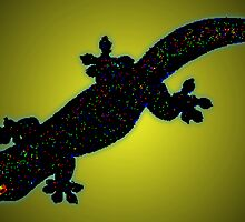 Pixelated gecko [black on yellow] by GeoGecko