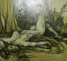 Female Nude Figure in the Woods (Drawing)- by Robert Dye
