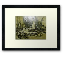 Female Nude Figure in the Woods (Drawing)- Framed Print