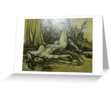 Female Nude Figure in the Woods (Drawing)- Greeting Card