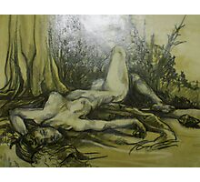 Female Nude Figure in the Woods (Drawing)- Photographic Print
