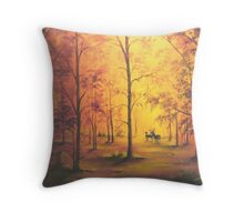Deer in Autumn Throw Pillow