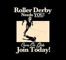 Roller Girl Recruitment Poster (Vintage Black) by John Perlock