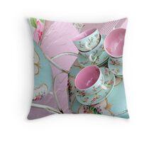 floral teacups + chair Throw Pillow