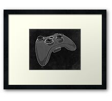 Distressed XBOX 360 Controller in Black and White Framed Print