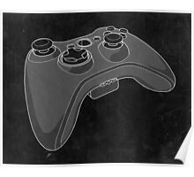Distressed XBOX 360 Controller in Black and White Poster