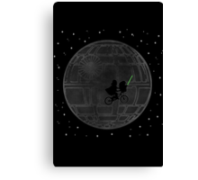 Warlord and green alien bike ride Canvas Print