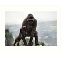 Gorgeous Father Son Gorilla Photo / Print - Amazing Animal Print Art Print