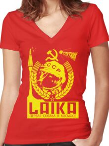 Laika the Cosmodog Women's Fitted V-Neck T-Shirt