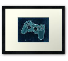 Distressed Playstation Controller in Cyan Framed Print