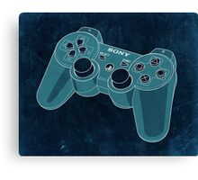Distressed Playstation Controller in Cyan Canvas Print