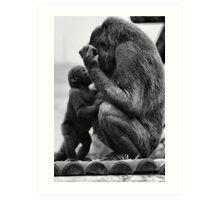 Gorgeous Father Son Gorilla Photo / Print - Black and White Amazing Animal Photo Art Print