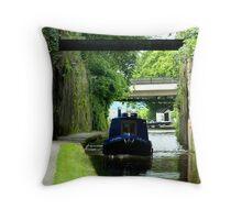 Narrow canal boat Throw Pillow