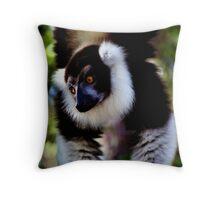 Back & White Ruffed Lemur Just Hanging Around, Madagascar  Throw Pillow