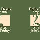 Roller Girl Recruitment Poster (Retro Green) by John Perlock