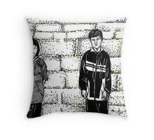 Children by the Wall Throw Pillow