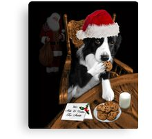 ARF> I'LL JUST SAY SANTA ATE THE COOKIES.. FUN FESTIVE CANINE SANTA PICTURE AND OR PRINT ECT. Canvas Print