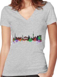 Berlin Brandenburg Gate Women's Fitted V-Neck T-Shirt