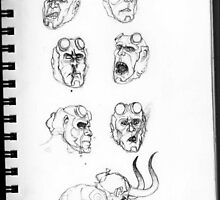 Hellboy Expression Sheet by glass-garden