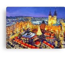 Prague Old Town Square Christmas market 2014 Canvas Print