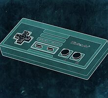 Distressed Nintendo Controller in Blue/Green by ChristineWilson
