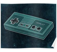 Distressed Nintendo Controller in Blue/Green Poster