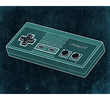 Distressed Nintendo Controller in Blue/Green Photographic Print