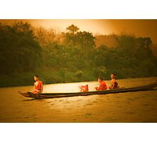 monks in a  boat  Photographic Print