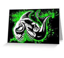 Feisty Fish Green and Black Greeting Card