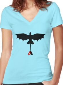 Toothless Silhouette Women's Fitted V-Neck T-Shirt