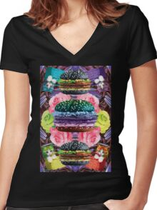 WELCOME TO GOTH BURGER  Women's Fitted V-Neck T-Shirt