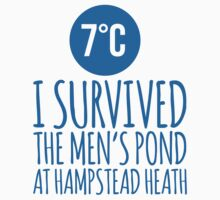 Hilarious London 'I Survived The Men's Pond at Hampstead Heath 7°C' Hoodies and Gifts by Albany Retro
