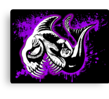 Feisty Fish Purple and Black  Canvas Print