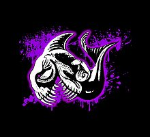 Feisty Fish Purple and Black  by Sookiesooker