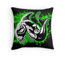 Feisty Fish Green and Black Throw Pillow