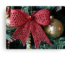 Red Christmas bow Canvas Print