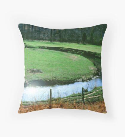 Green Valley Stream Throw Pillow