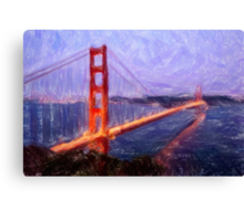 Golden Gate Bridge--Mixed Media Painting Canvas Print