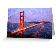 Golden Gate Bridge--Mixed Media Painting Greeting Card