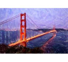 Golden Gate Bridge--Mixed Media Painting Photographic Print