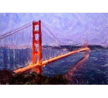 Golden Gate Bridge--Mixed Media Painting Photographic Print
