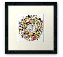 Toon Vortex circular design Framed Print