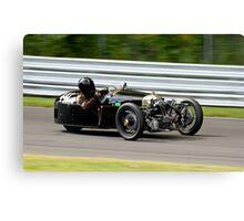 Vintage Morgan three wheeler on the track Canvas Print
