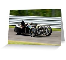 Vintage Morgan three wheeler on the track Greeting Card